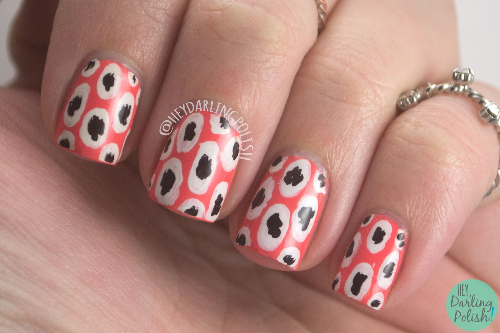 nails, nail art, nail polish, dots, hey darling polish, the nail challenge collaborative, coral, pattern,