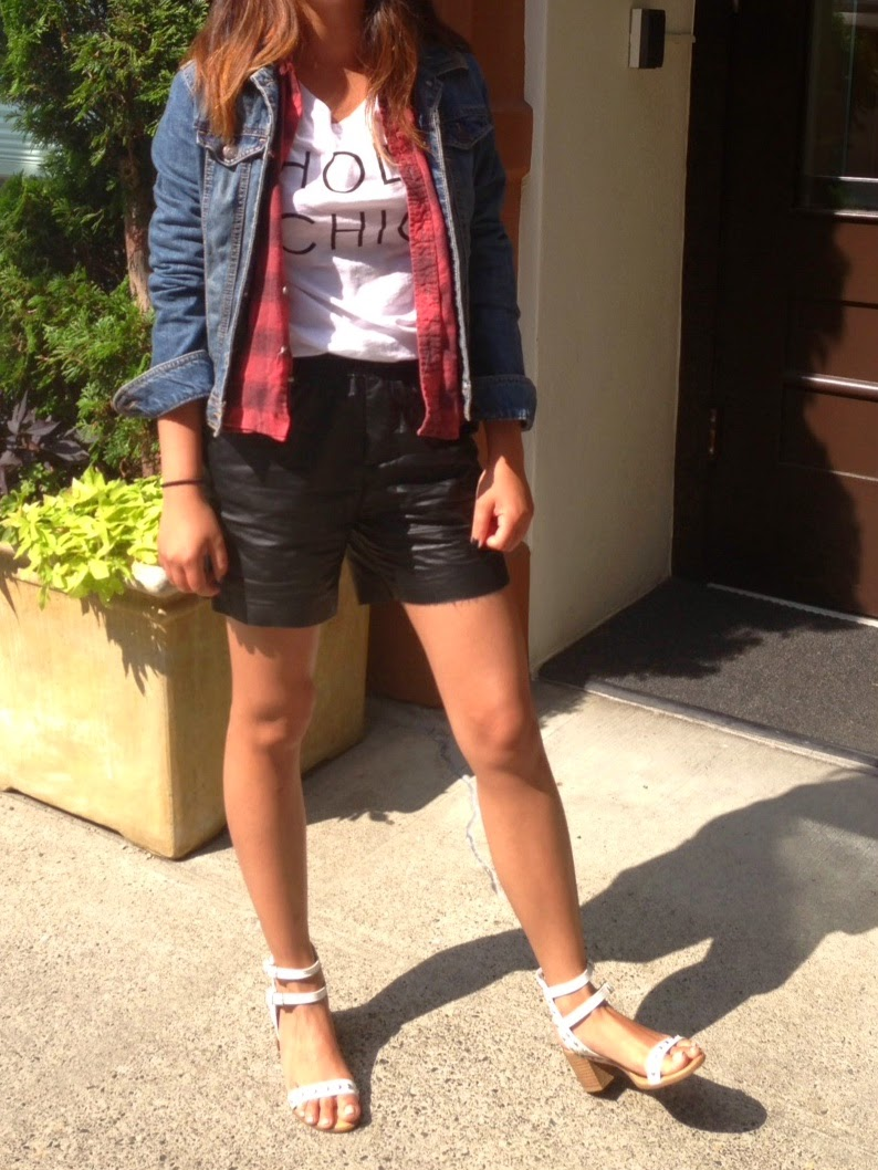 old navy, holy chic, flannel, faux leather shorts, portland blogger, pcx blogger, fashion blogger, street style