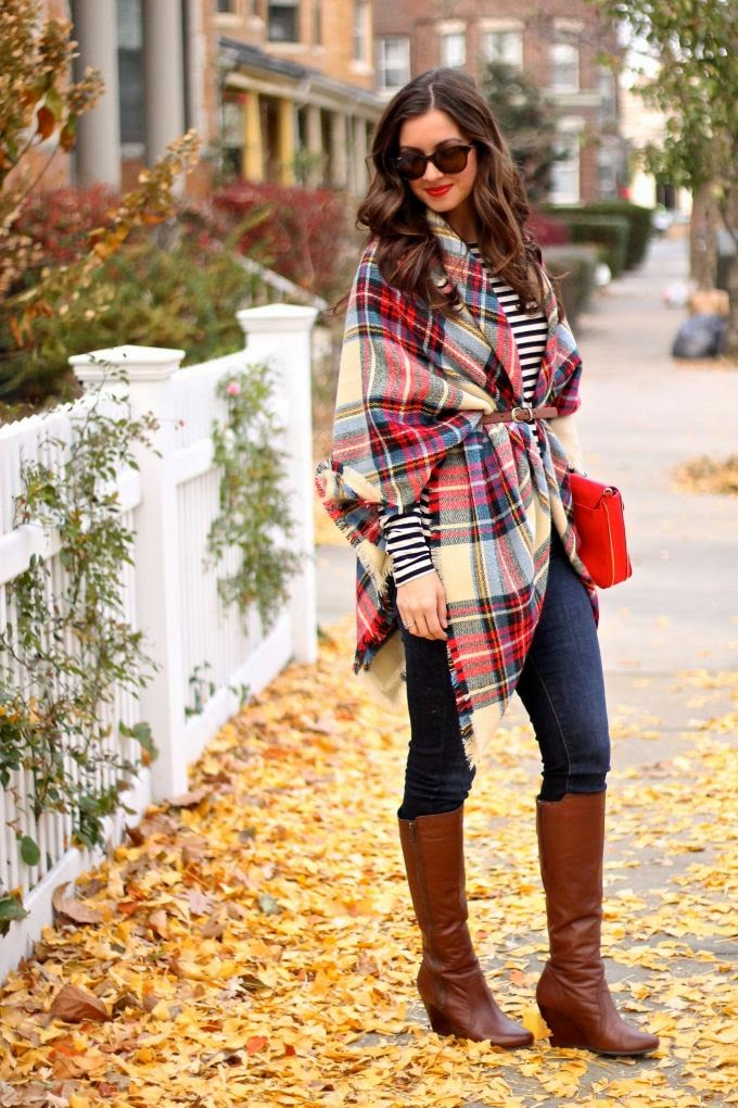 Plaid Quilt Headscarf, Beating, Cognac Large Booties.