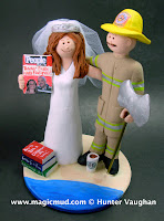 wedding cake topper for fireman