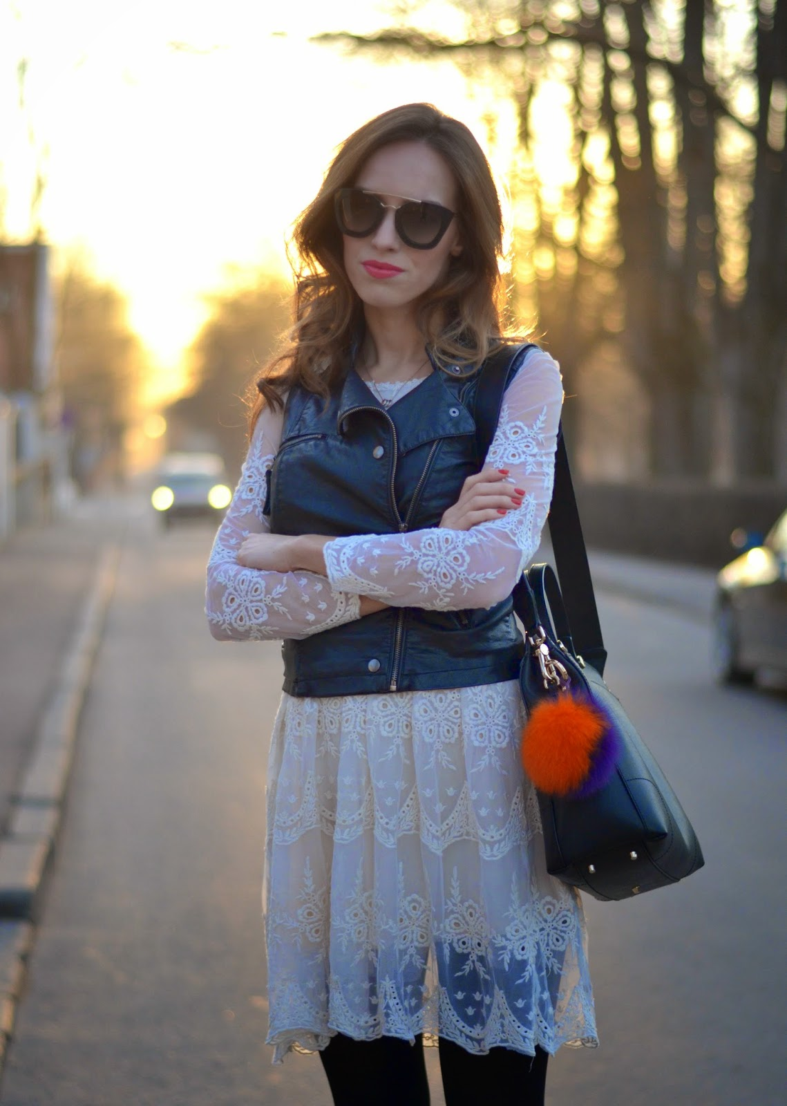 moto-chic-outfit-leather-vest-lace-dress kristjaana mere