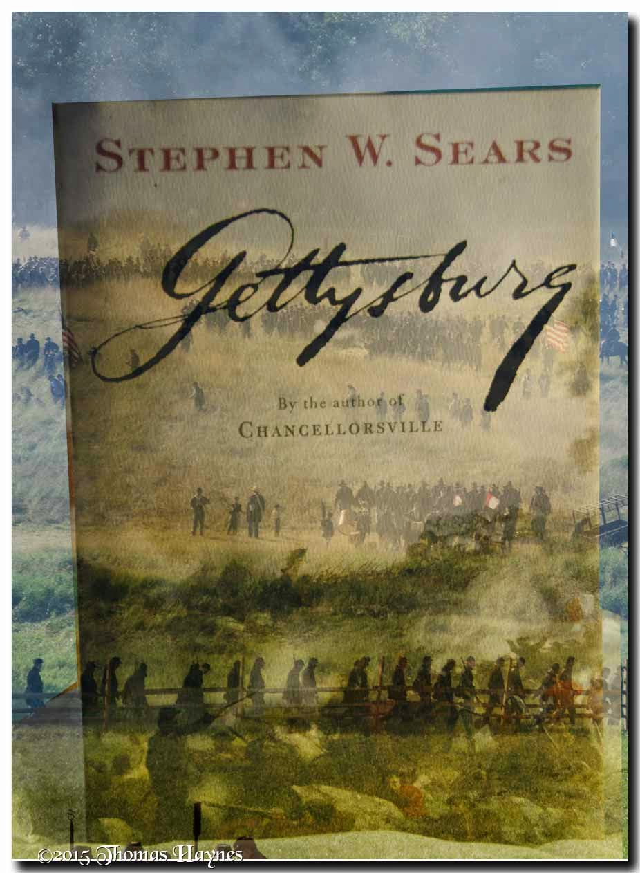 images of book cover and reenactment of battle of Gettysburg