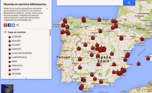 mapa de recortes en Bibliotecas