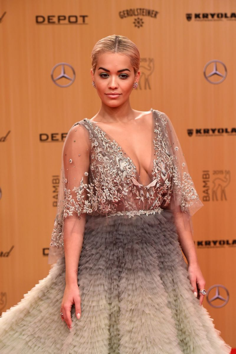Rita Ora bares cleavage at the 2015 Bambi Awards in Berlin