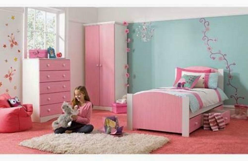 Warna cat kamar pink dan biru bikin adem for 7 year girl bedroom ideas