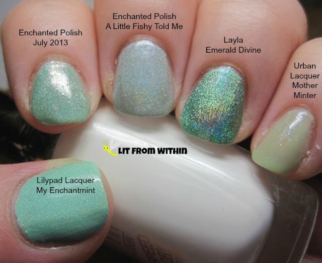 Lilypad Lacquer My Enchantmint, Enchanted Polish July 2013 and A Little Fishy Told Me, Layla Emerald Divine, and Urban Lacquer Mother-Minter
