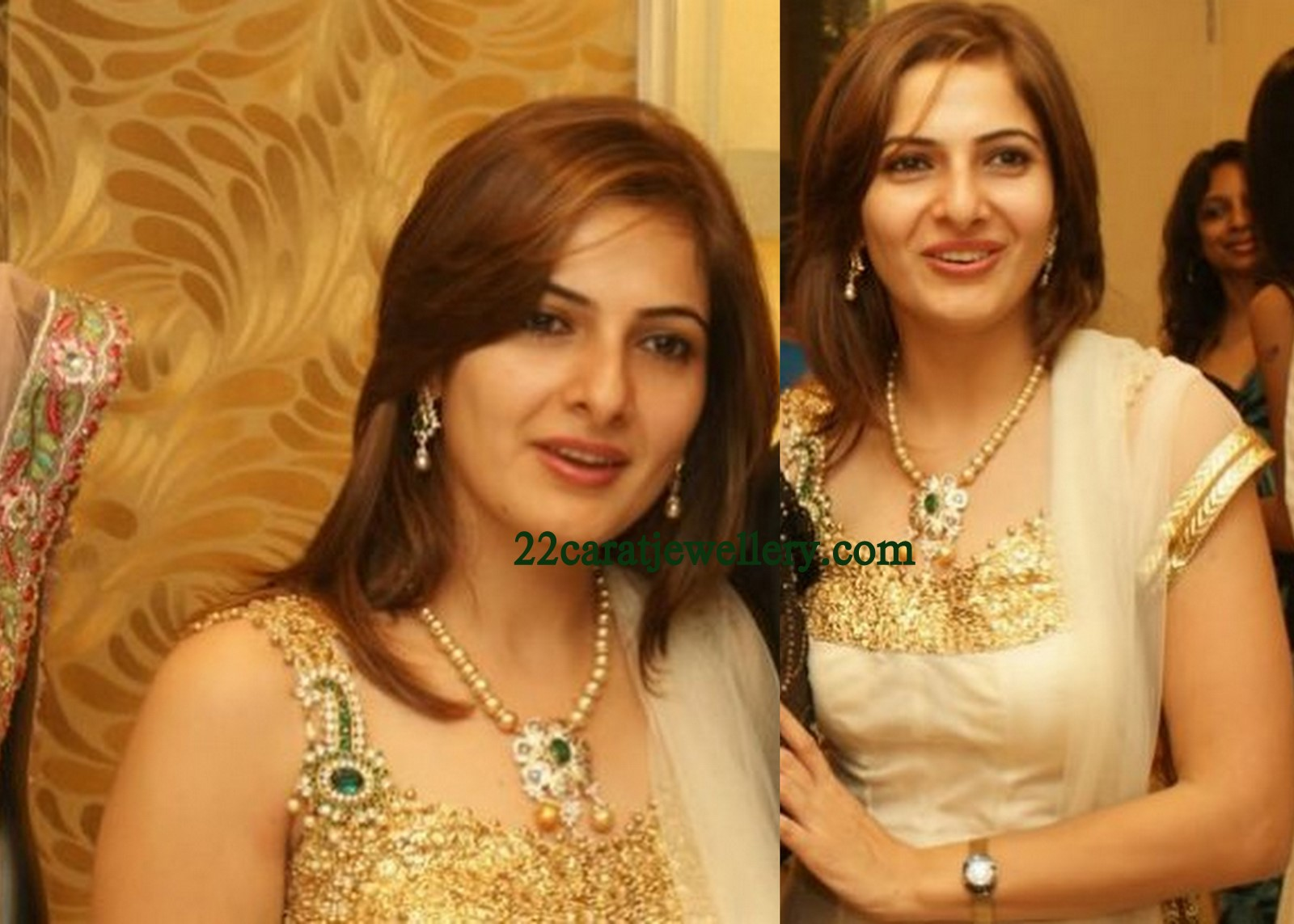 Celebrity in diamond pendant designer piece jewellery designs south indian celebrity spotted with beautiful designer seathrow pearls necklace attached with diamond pendant and pendant studded with emerald at the middle aloadofball Image collections