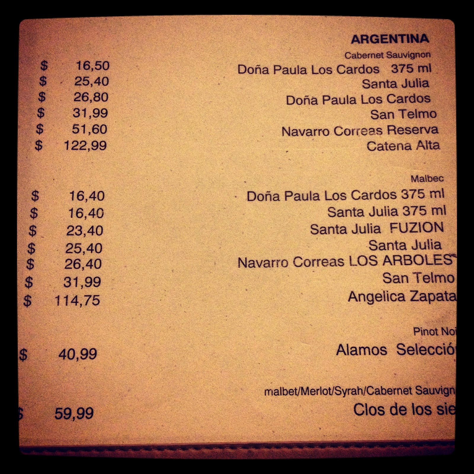 carta de restaurante argentinos: