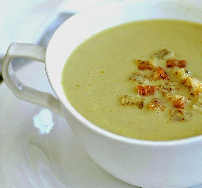Creamy Asparagus Soup with Saffron Croutons