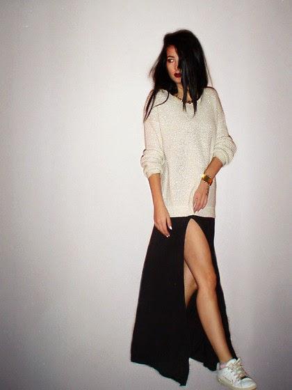 long skirt baggy sweater