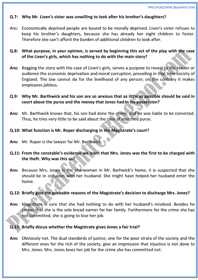 Act-III-Of-The-Silver-Box-Prose-Questions-Answers-English-XII