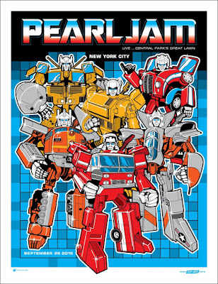 Pearl Jam Transformers 2015 Global Citizen Festival Concert Poster Screen Print by Ames Bros