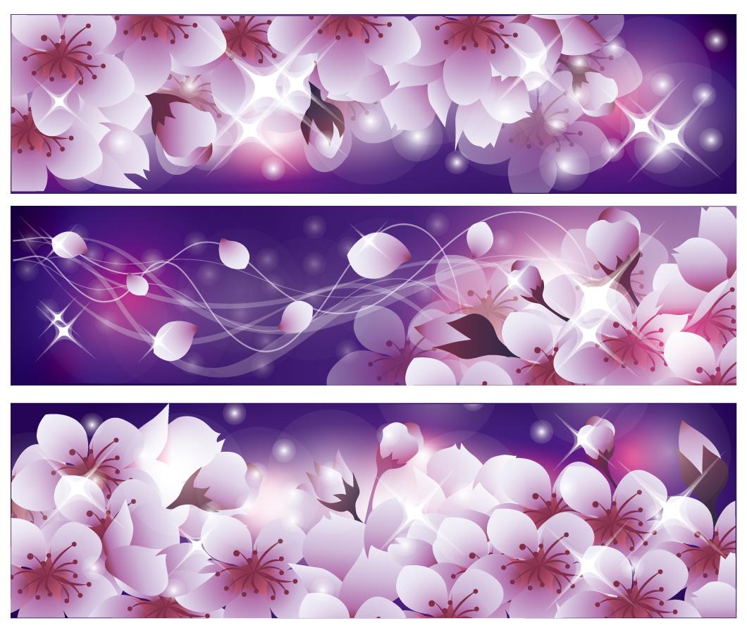 満開の桜を背景にしたバナー romantic flower background イラスト素材