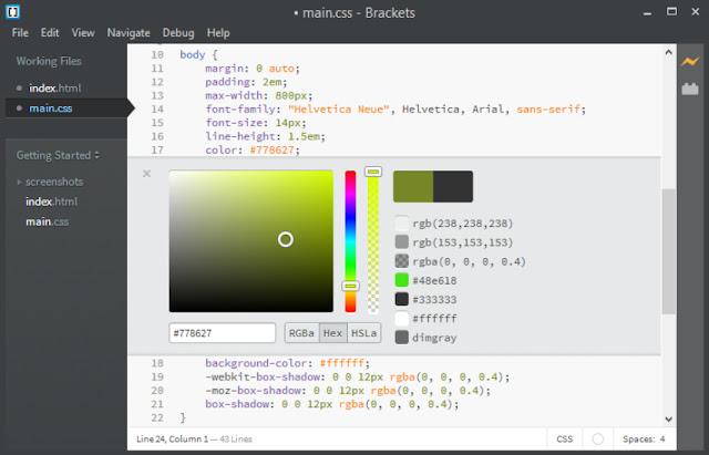 محرر النصوص البرمجية مفتوح المصدر 1.5 Adobe Brackets لويندوز ولينكس وماك