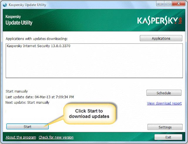 start kaspersky offline updater utility