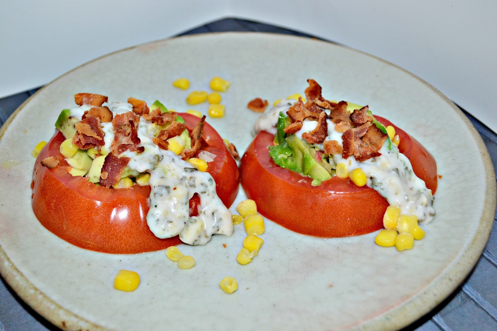 Tomato Stack Salad with Corn and Avocado - Hezzi-D's Books ...