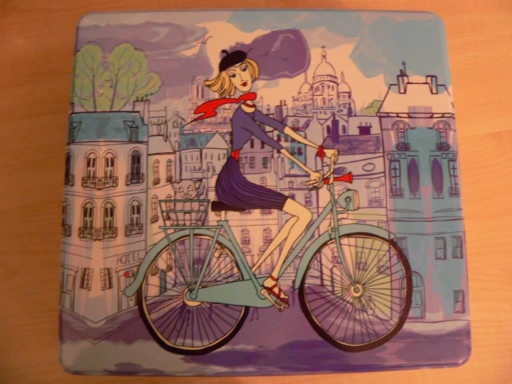 Fahrrad Paris Französisch Frau Keksdose
