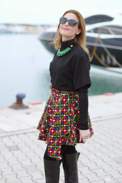 letthemstare.com, Let them stare bow skirt, Chanel sunglasses, colorful skater skirt, Fashion and Cookies, fashion blogger