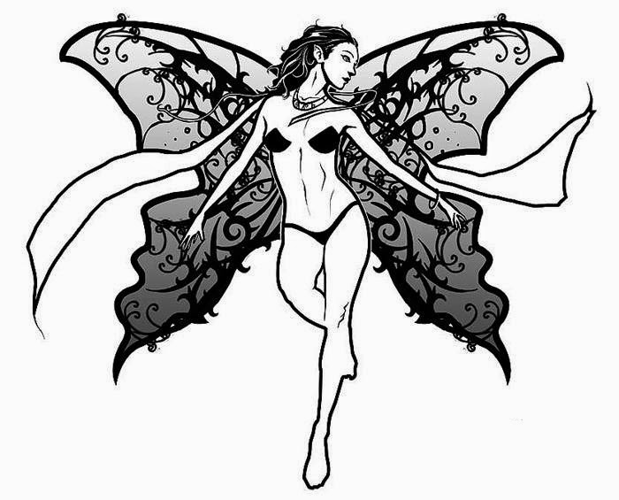 Fairy tribal wings  tattoo stencil