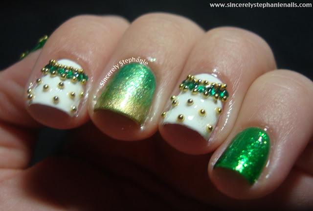 gold and green nail art