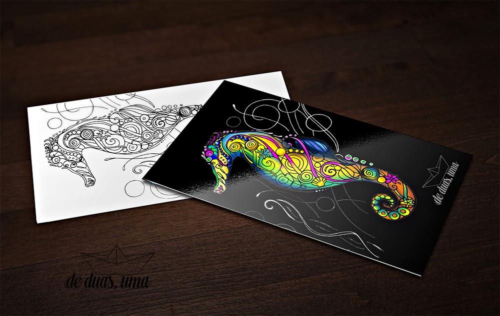 seahorse doodle color