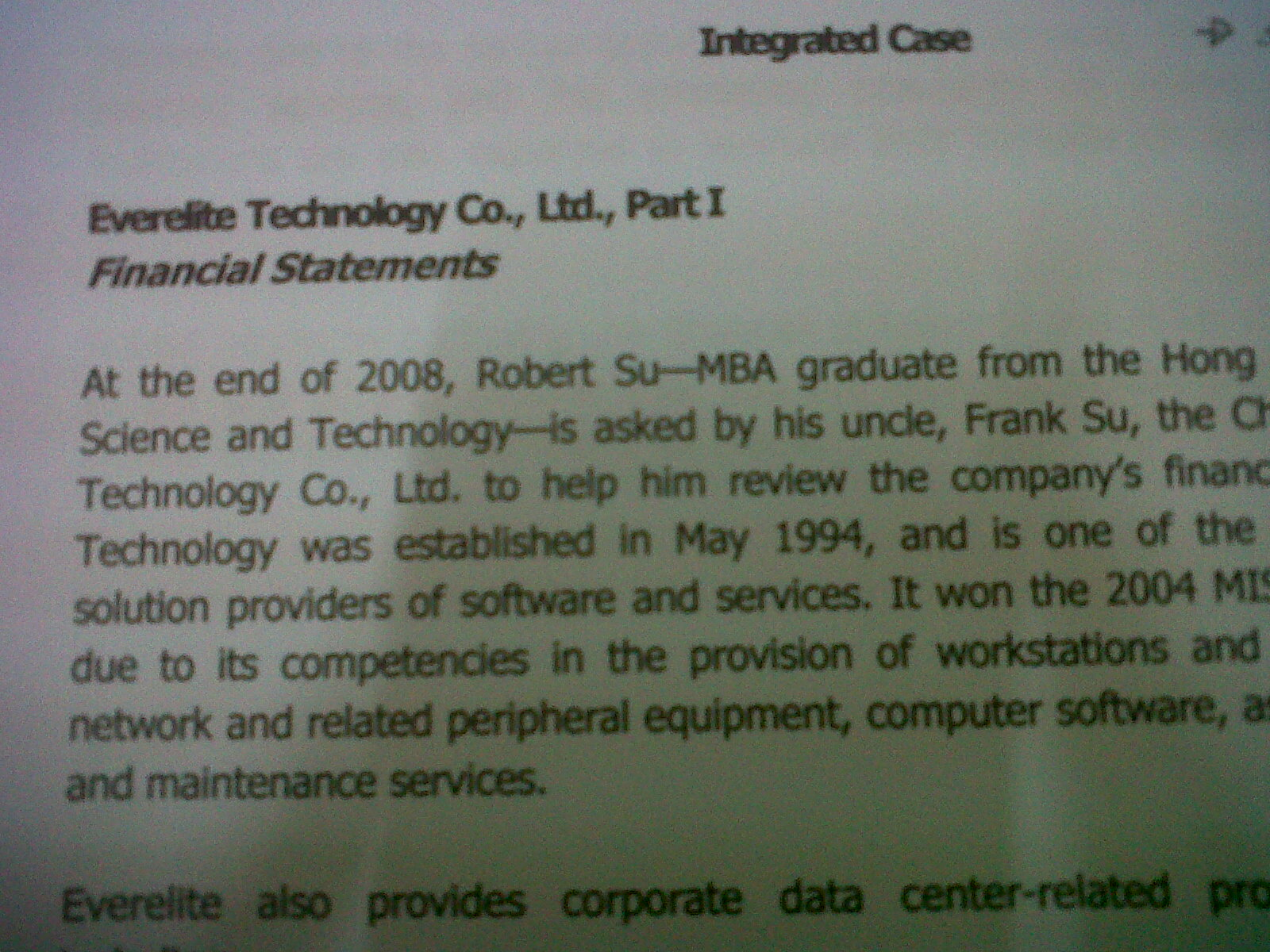 everelite case study Sarah valencia, financial managementneil gumban, integrated case study ashley canchela, joylen orbig.
