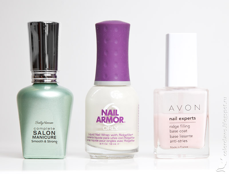 Sally Hansen Complete Salon Manicure Smooth&Strong, Orly Nail Armor, Avon Ridge Filler Base Coat