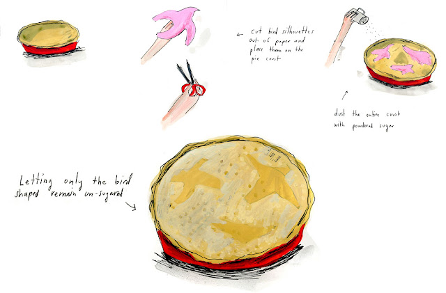 Illustrated decorated pie crust