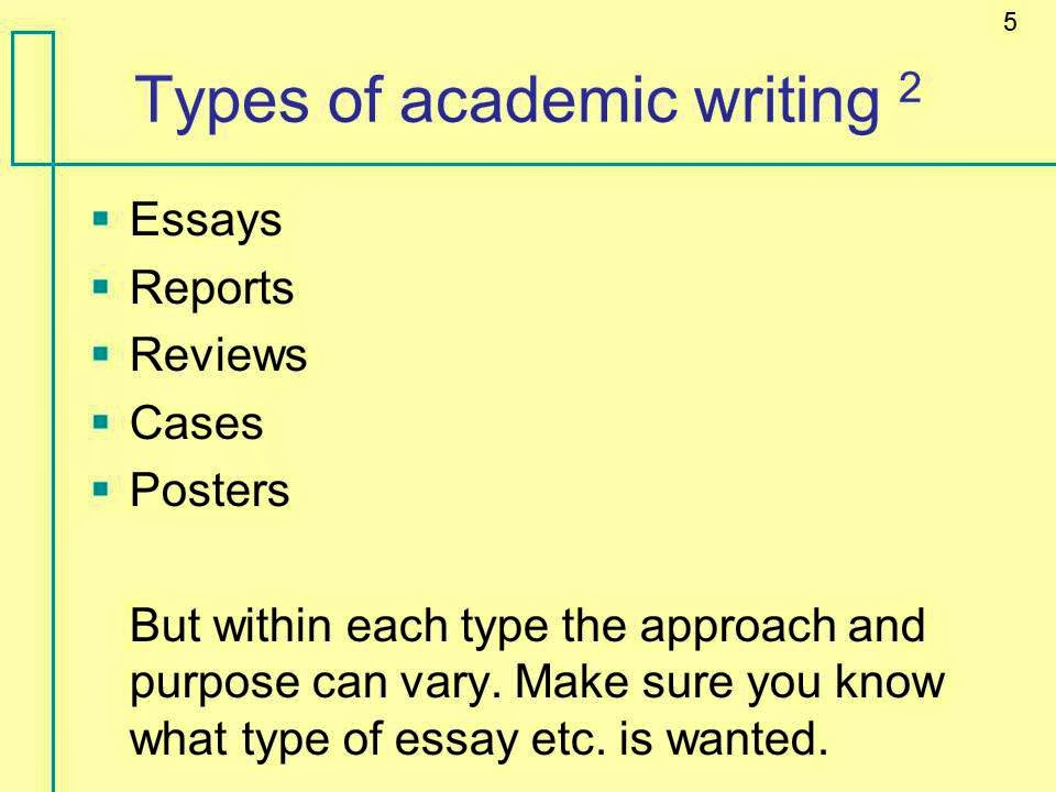 types of academic essays An essay is a piece of academic writing that describes, analyzes, and evaluates a certain topic or an issue an essay generally contains a combination of facts and figures and the personal opinions, ideas of the writer.