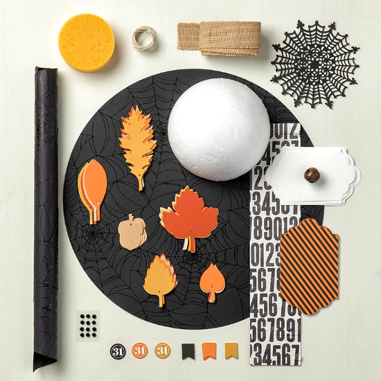 Photo image of Stampin' Up! Witching Decor Project Kit contents.