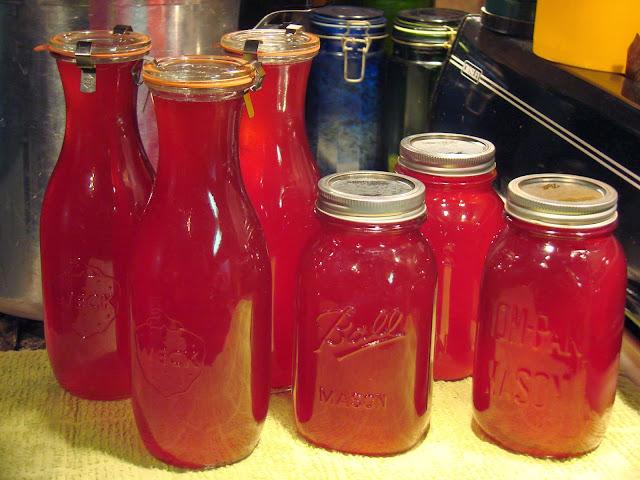 cranberry juice in jars