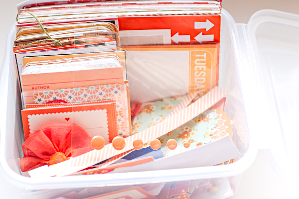 How Heather Greenwood organizes her scrapbook supplies, by colors