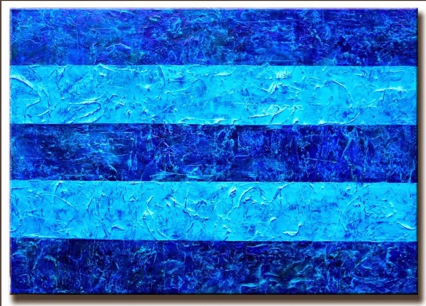 "Abstract Painting ""Blue Stripes"" by Artist Dora Woodrum"