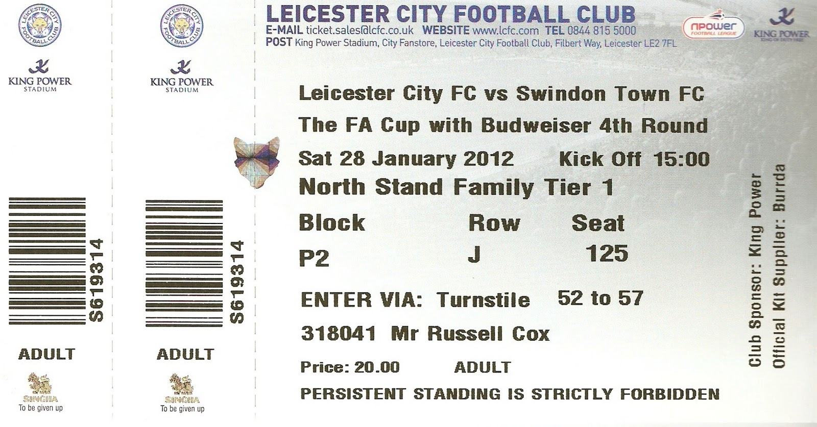 The wycombe wanderer leicester city king power stadium - Leicester city ticket office contact number ...