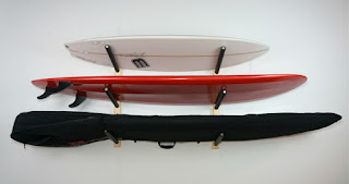 wood multiple surfboard display storage