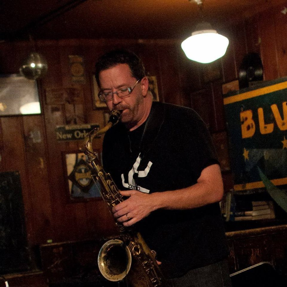 Composer Eric Barber playing the tenor sax
