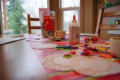 Milk And Cookies Valentine Playdate craft table