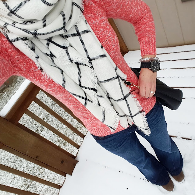 Gap Factory Orange Marl Sweater (similar - on sale for $10!) // 7 For All Mankind Dojo Jeans // Merona Scarf - back in stock! // Kate Spade Pine Street Small Kori // Fergalicious Boots (similar) // Target Men's Watch (similar)