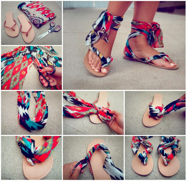 Ideas products scarf ankle wrap sandals step out in style with these funky scarf ankle wrap sandals you can make yourself give a new lease on life to an old scarf with this fantastic idea thats solutioingenieria Images