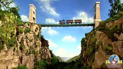 Thomas the tank engine crossed the rickety iron suspension bridge to lord Callan's castle grounds