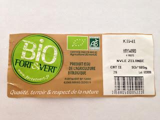 Etiquette Zespri Organic Green
