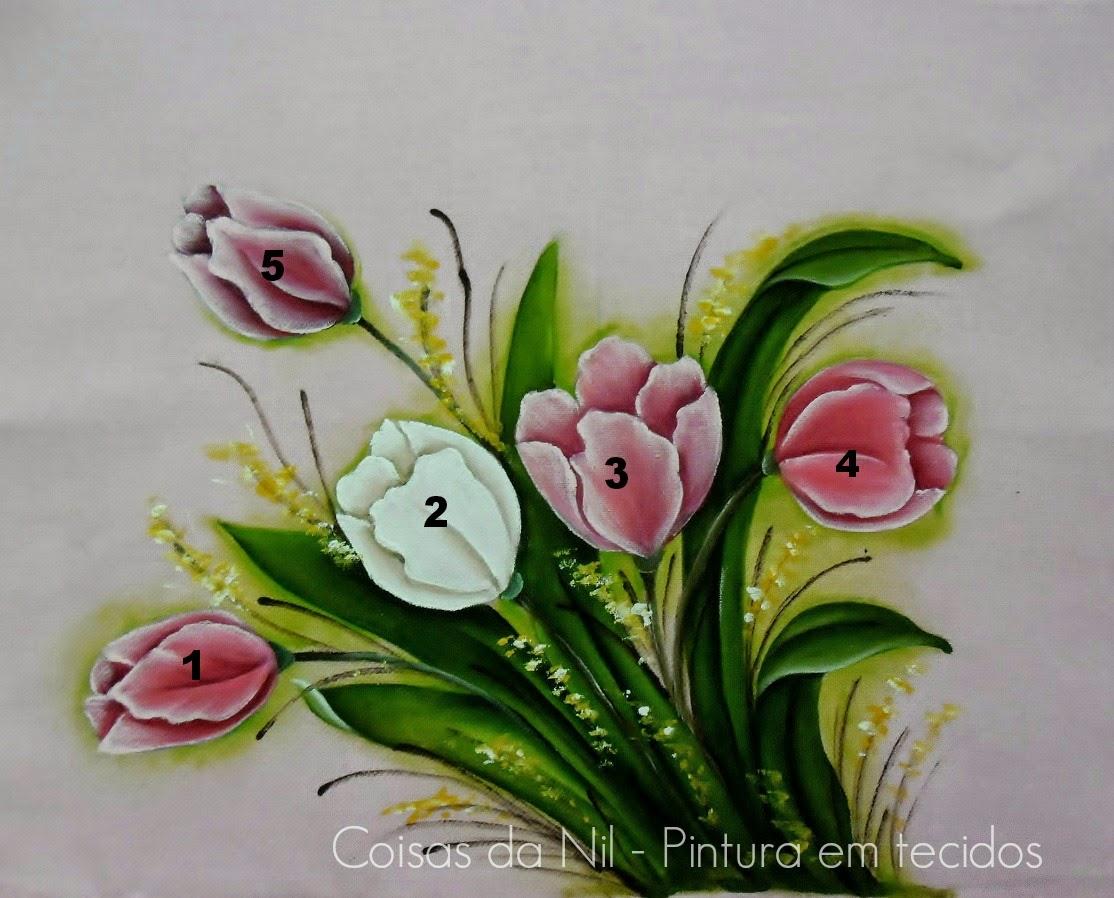 guia de cores para pintar tulipas em pano de copa