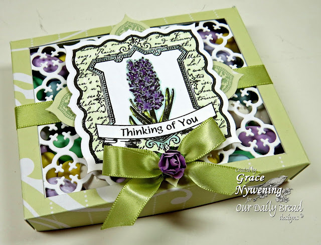 ODBD Stamps, Hyacinth, Romantic Floral Designs, Quatrefoil Pattern Die, designed by Grace Nywening