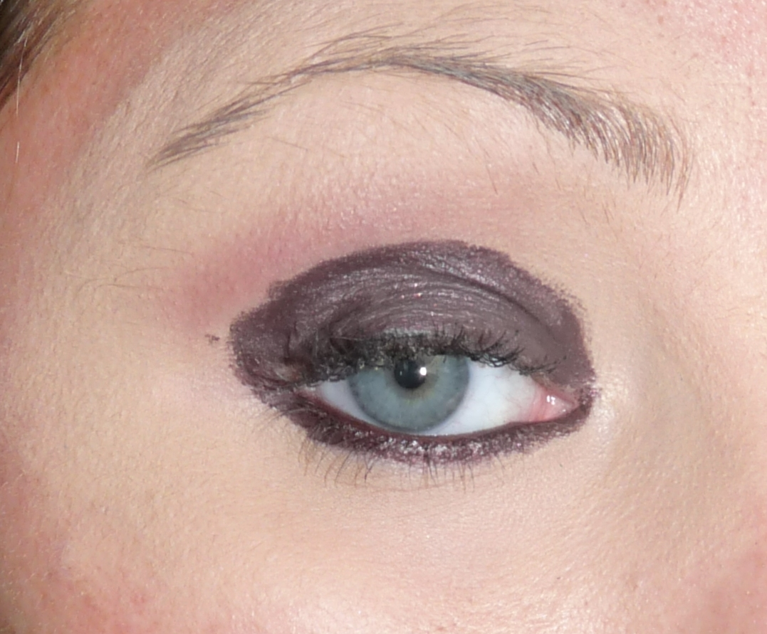 then applied Avon Supershock eyeliner in Blackberry all over my lid