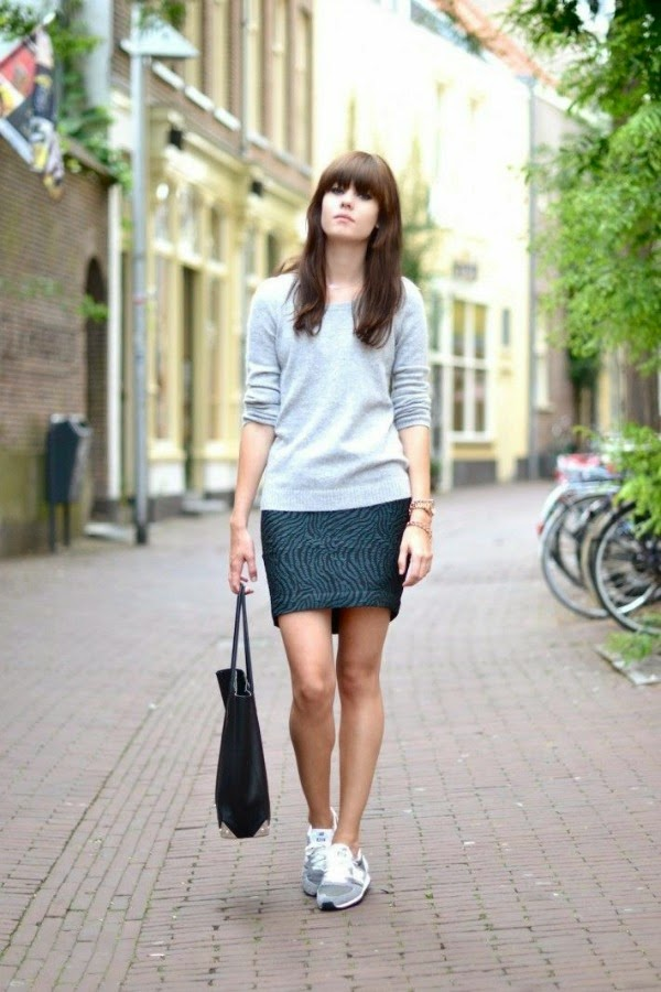 tiger striped skirt with sneakers