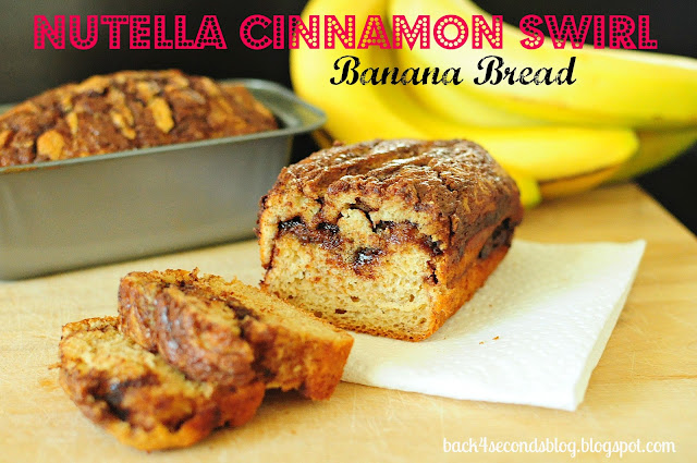 Skinny Nutella Cinnamon Banana Swirl Bread @BackForSeconds #nutella #bananabread #recipe #skinny #breakfast