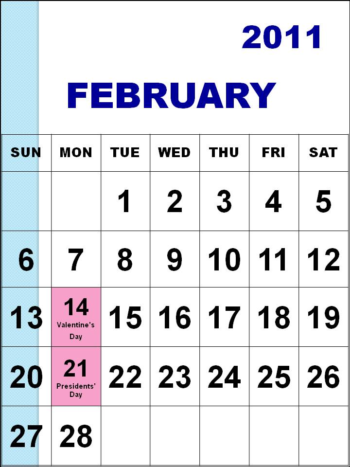 February 2011 Calendar. Holidays in February, 2011: