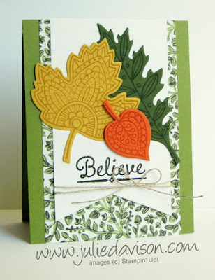 Stampin' Up! Lighthearted Leaves + Into the Woods DSP Fall Autumn Card #stampinup www.juliedavison.com