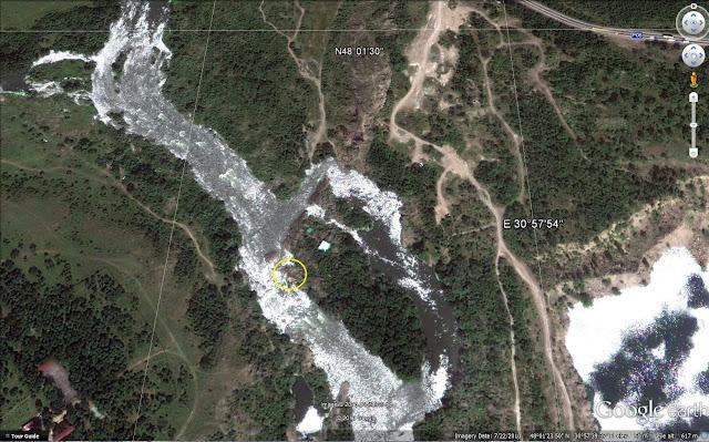 Географические координаты группы гранитных скал высверленными них колодцами на реке Южный Буг