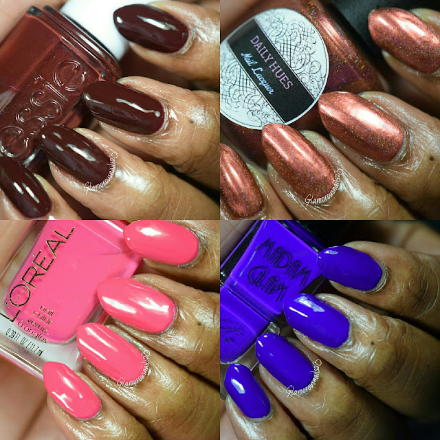 Essie Chocolate Kisses, Daily Hues Nail Lacquer Limited Edition #15, L'Oreal Hella Pink, Madam Glam Your Majesty It's Time To Indigogo